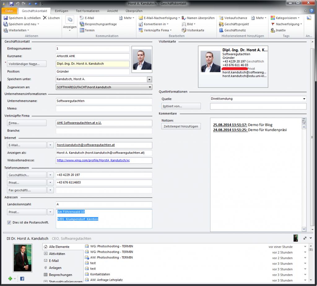Beispiel eines Microsoft Business Contact Files